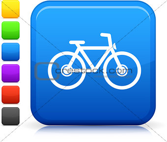 bycicle icon on square internet button