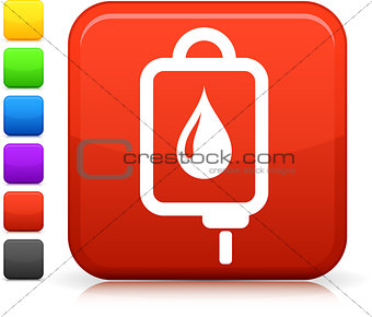 blood bag icon on square internet button