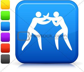 boxing icon on square internet button