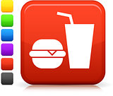 fast food icon on square internet button
