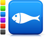 fish  icon on square internet button