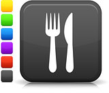 knife and fork icon on square internet button