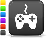 video game controller icon on square internet button