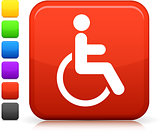 wheelchair icon on square internet button