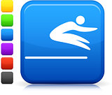 Stick Figure Long Jump icon on square internet button