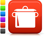 cooking pot icon on square internet button