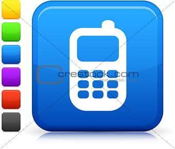 Smart phone icon on square internet button