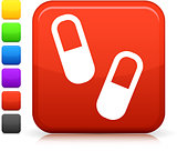 medical pills icon on square internet button