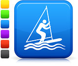 stick figure sailing icon on square internet button