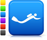 scuba diving icon on square internet button