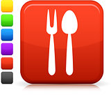 serving utensils icon on square internet button