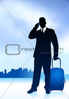 Business Traveler with City Skyline