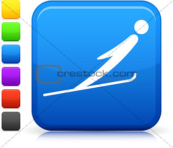 ski jumping icon on square internet button