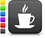 cup of tea or coffee icon on square internet button