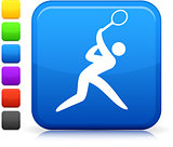 tennis  icon on square internet button