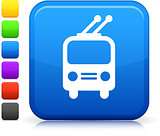 trolley bus icon on square internet button