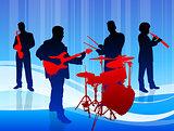 Music Band on Blue Background