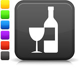 wine icon on square internet button