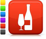 champagne icon on square internet button