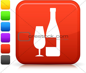 champagne icon on square internet button