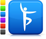 yoga icon on square internet button