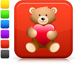 teddy bear  icon on square internet button