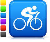 Cycling icon on square internet button