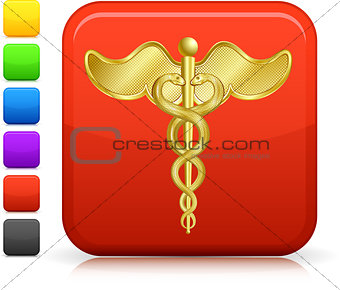 caduceus icon on square internet button