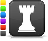 chess castle icon on square internet button
