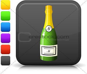 champagne bottle icon on square internet button