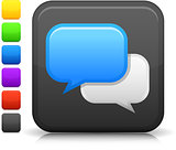 chat room icon on square internet button