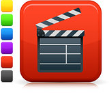 Film clapper board  icon on square internet button