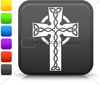 celtic cross icon on square internet button