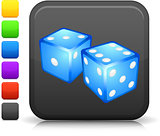 gambling dice icon on square internet button