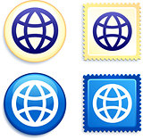 Globes on Stamp and Button