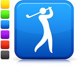 golf icon on square internet button