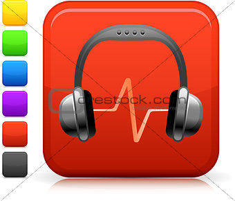 Audio headphones icon on square internet button