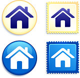 House on Stamp and Button