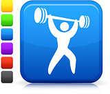 weight lifter icon on square internet button