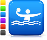 Water Polo icon on square internet button