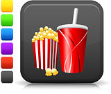 popcorn and soda icon on square internet button