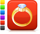 diamond engagement ring icon on square internet button