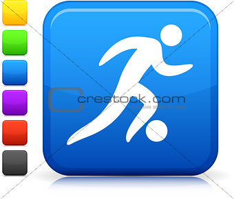 football, soccer icon on square internet button