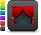 theater stage icon on square internet button