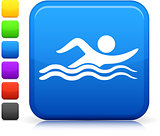 swimming icon on square internet button