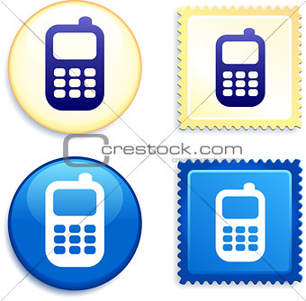 Cell Phone on Stamp and Button