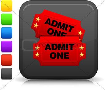 cinema tickets icon on square internet button
