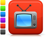 television set icon on square internet button