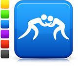 Wrestling icon on square internet button