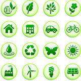 Green Environmental Buttons